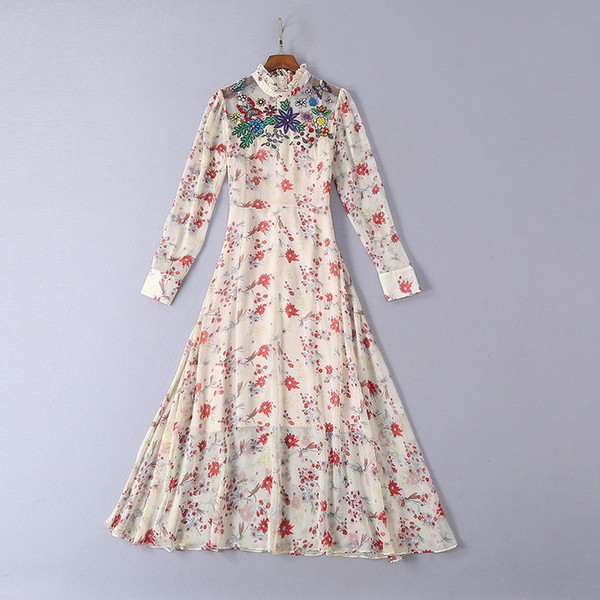 Milan Runway dresses 2019 Spring Summer Stand Collar Long Sleeve Print Women's Designer Dress Brand Same Style Dress 032208