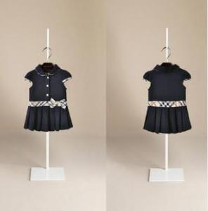 Summer Baby Girl Dresses Brand Tag Plaid stitching Bow Children's Girls Dresses Cotton Tops Kids Girl Dress clothing