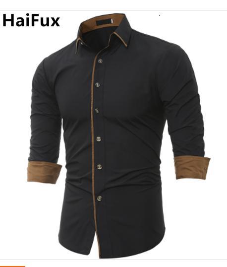 Hommes shirt Marque 2018 Homme de haute qualité Chemise à manches longues Caueal couleur unie Slim Fit Homme Noir Chemises Camisa Masculina 3XL V191025