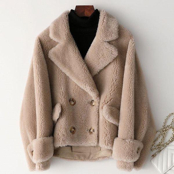 Frauen 2019 Winter Echte Schafe Scher Lamm Pelzmantel Weibliche Echte Wolle Mantel Wildleder Liner Abrigos Mujer Invierno K316