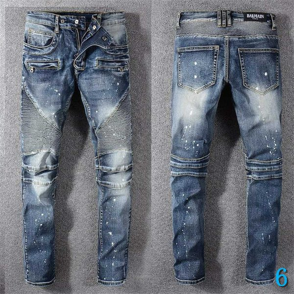 men jeans fashion patches hole washed embroidery bleached long distrressed zipper fly straight cotton blend size 28-34y2 6