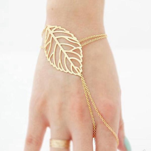 Charm Hollow Kadınlar Altın Renk Bilezik Mujer Bijoux için Parmak Yüzük Zincir El Koşum ile Bilezik Yapraklar