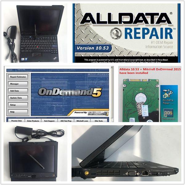 Nuevas reparaciones automáticas alldata 10.53 y mitch * ll para automóviles y camiones hdd 1tb instaladas en la pantalla táctil de la computadora portátil X200T PC