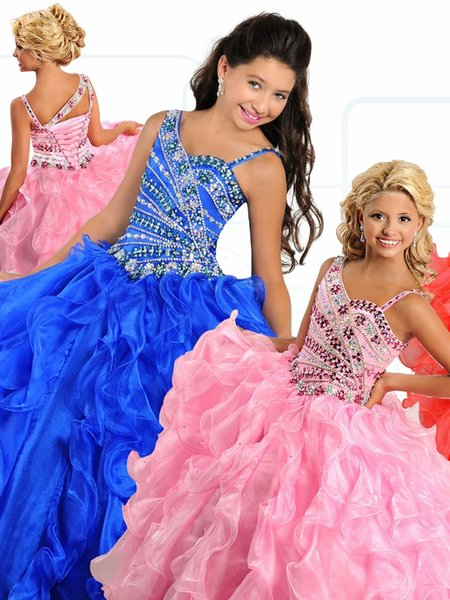 Little Girl's Pageant Dresses Birthday Party 2019 Toddler Kids Formal Wear Ball Beads Crystals Teen Kids Size 3 5 7 9 Vestidos De 15 Anos