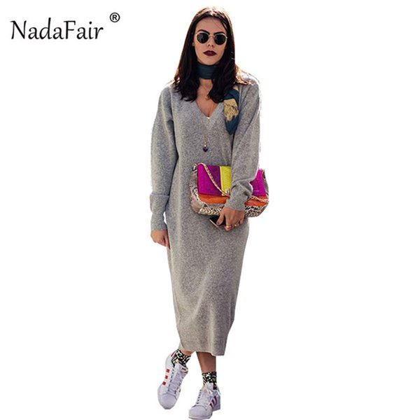 Nadafair Women Winter Dress V Neck Loose Knitted Sweater Long Dresses Female Autumn Long Sleeve Casual Sexy Maxi Dress Robe Pull S19715