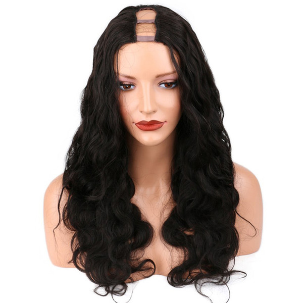 Fashion body wavy high density 130%-150% brazilian virgin human hair u part wigs with combs free shipping