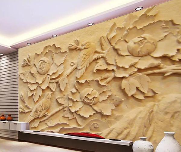 Acheter Papier Peint Classique Pour Les Murs Pivoine Fleur Oiseau Relief Mur 3d Fond Décoration Murale Peinture Murale De 32 17 Du Yiwuwallpaper1688