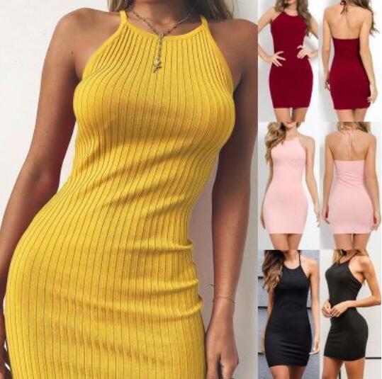 Лето 2019 приграничных сексуальная мода улицы выстрел назад похудение мешка ягодица шея ремень платье