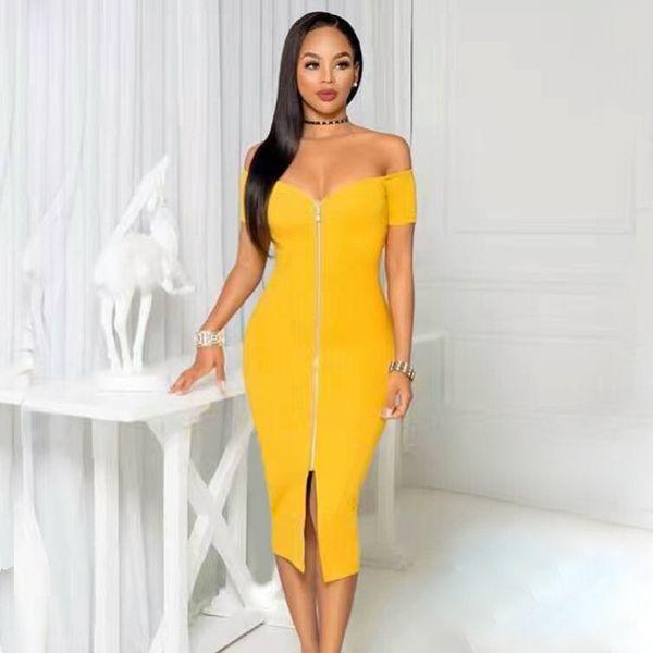 Sexy Evening Party Bandage Dresses 2018 Summer Slash Neck Zippers Short Sleeve Knee Length Lady Clothes Celebrity Women Dress J190511