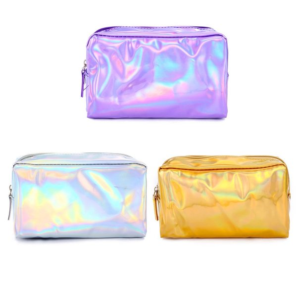 Fashion Holographic Laser Rainbow Pencil Case Cosmetic Makeup Pouch Storage Zipper Purse Bag Large capacity School Girl Gifts