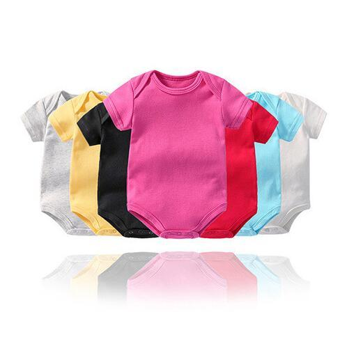 Baby Rompers Solid Color Short Sleeve Jumpsuits 12 Colors Infant One-Piece Clothing Bodysuits Kids Shirts OOA6742