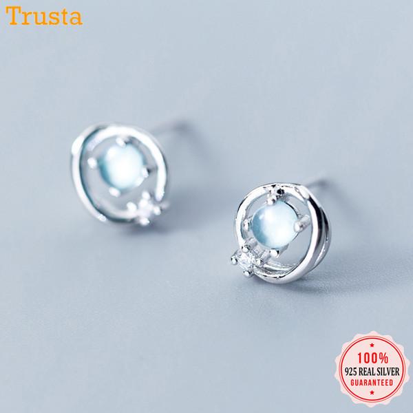 Trustdavis 100% 925 Solide Argent Sterling Expansive Ciel Étoilé CZ Dormeuse Pour Les Femmes Fille Enfant Mode Bijoux DA367