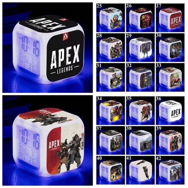 53 Styles Apex Legends Alarm Clock Apex Legends Digital Desk Square Alarm Clock with LED Screen Desk Clock Table Clocks CCA11354 20pcs