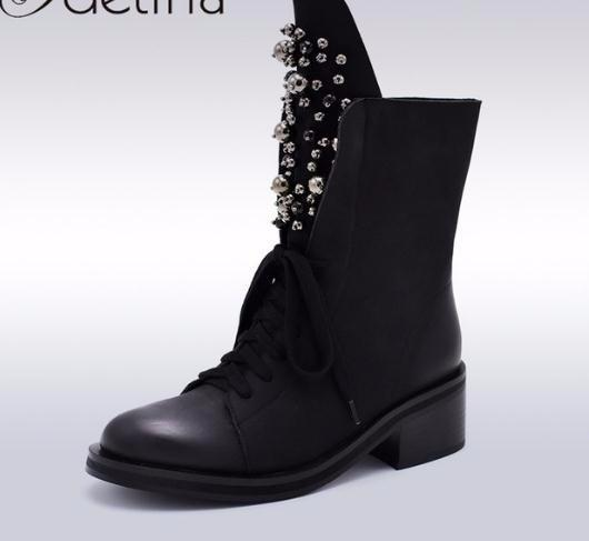 2019 Fashion Brand Winter Mid Calf Boots Women Round Toe Square High Heel Russia Snow Lace Up String Bead Warm Shoes