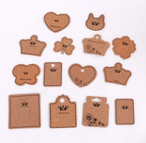 best selling 100pcs lot Kraft Earring Card Different Size Ear Stud Drop Earrings Cards Can Custom Logo Jewelry Display Tag