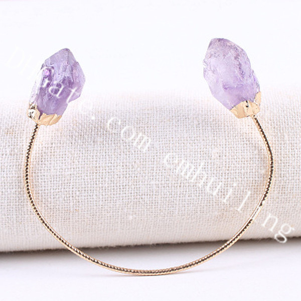 gold plated metal amethyst stone