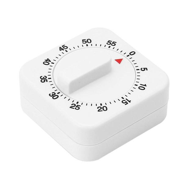 Nouvel réveil pour la cuisine Blanc carré Minuterie mécanique Rappel de 60 minutes Compter les minuteries pour la préparation des aliments dans la cuisine