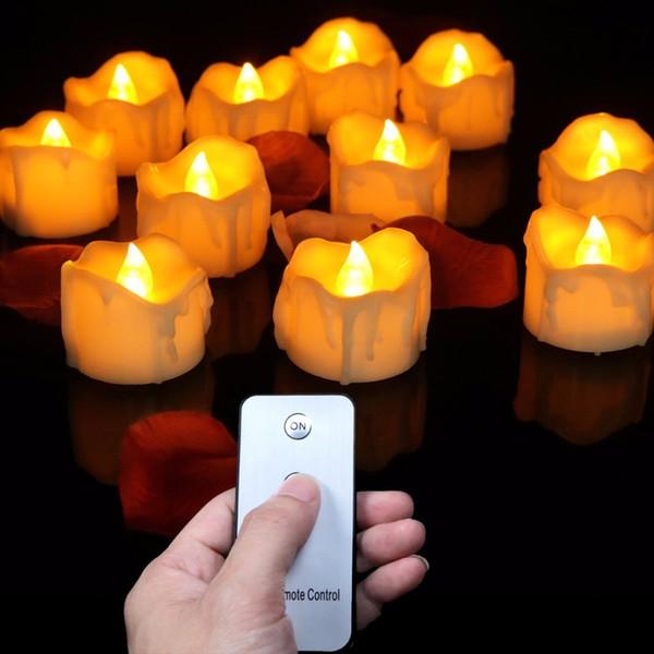 (12 Piezas) Pequeñas velas decorativas parpadeantes con control remoto, amarillo rojo brillante falso té luces para cumpleaños, amor T8190620