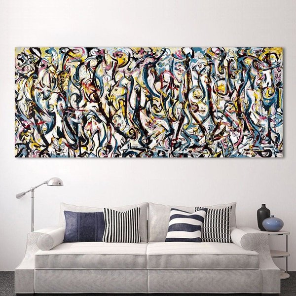Art Prints Jackson Pollock Style Colourful Abstract oil paint Reprint On Framed Canvas Art
