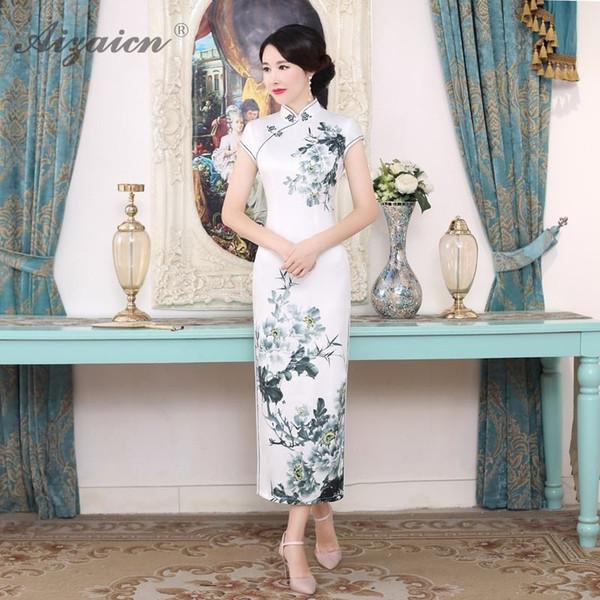 Verão Magro Impressão Longo Cheongsam Mãe Elegante Moderna Saia Branca Qi Pao Mulheres Vestido Chinês Tradicional Promoção Qipao