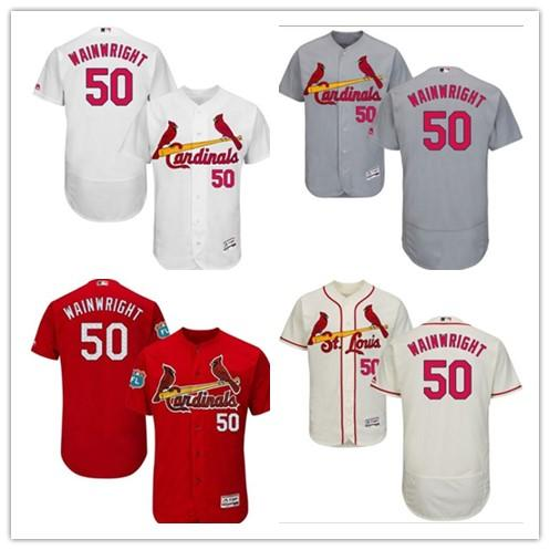 can be custom St. Louis any name any number Men's Women's Youth 50 Adam Wainwright red bule Baseball Jerseys Blue Cardinal