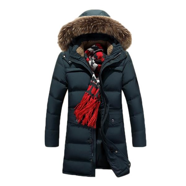 Großhandel Wintermode Super Warm Lange Herren Daunenjacke Echten Waschbären Pelzkragen Mit Kapuze Outdoor Sport Parkas Plus Größe Von Pakis, $131.13