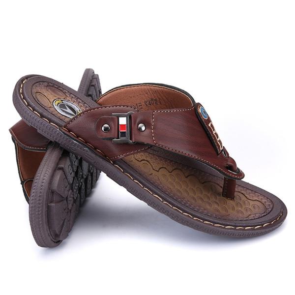 2019 Brand Summer Beach Flip Flops Men Pu Leather Slippers Male Flats Sandals outdoor Rubber Thong Beach Shoes Men Leather New