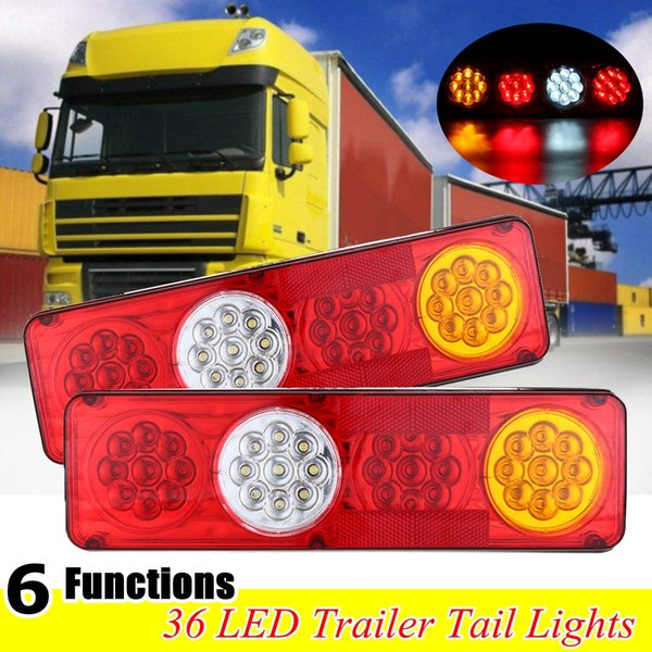 2pcs 36 LED 24V 3 Colors LED Waterproof Car Rear Tail Lights Lamp Brake Stop Light for Trailer Caravan Truck Lorry