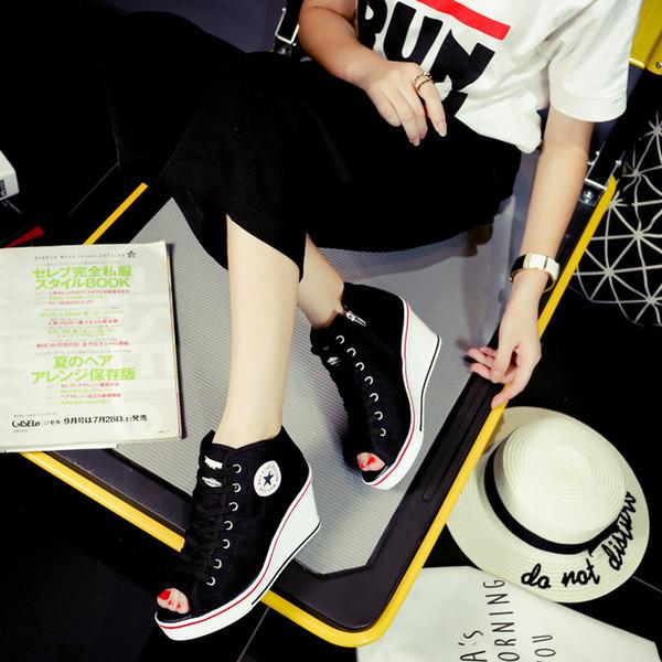 Sıcak Satış-Kadınlar takozları Platformu Kadın Tuval Ayakkabı Artırma Yüksek Üst Yükseklik Ayakkabı