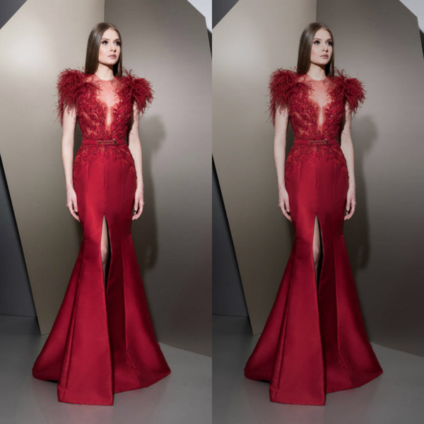 Ziad Nakad Upscale Red Mermaid Evening Dresses Feather Applique Prom Gowns Plus Size Formal Party Dress Customized Robes De Soirée