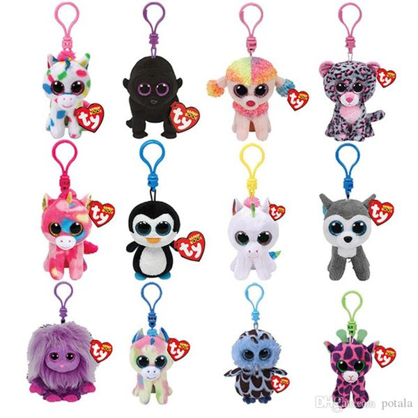 10CM TY Beanie Boos Keychain Plush toy Stuffed Animals dolls Big Eyes Owl Unicorn Cat Elephant Penguin Leopard Foxy Dog Rabbit Giraffe Panda