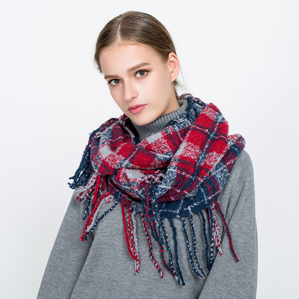 best selling Girl Plaid Scarf Ring Women Dotted Line Grid Scarves Tassel Check Scarves Classic Tartan Wraps Shawl Warm Winter Blanket GGA2552