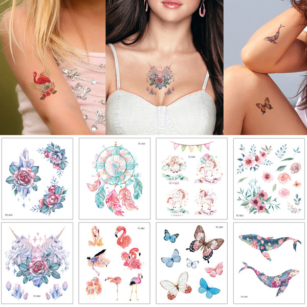 Colored Drawing Temporary Tattoo Sticker Cartoon Kid Butterfly Unicorn Small Flower Dolphin Design Tattoos for Boy Girl Body Makeup Birthday