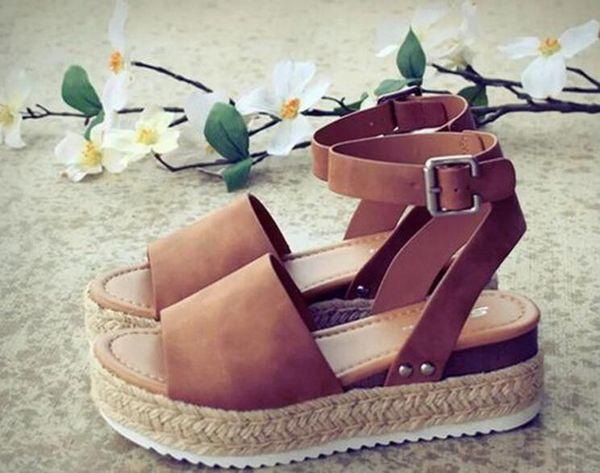 Zapatos de cuña para mujer Sandalias Tallas grandes Zapatos de tacón alto Verano 2019 Chanclas Chaussures Femme sandalias de plataforma 2019