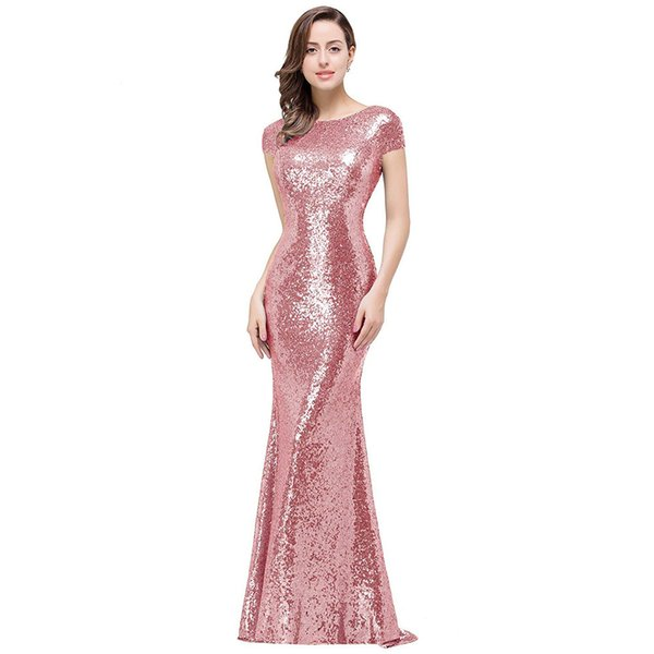 Mermaid Prom Dresses 2019 New Designer Bling Gold Sequins Spaghetti Open Back Ruffles Sweep Train Evening Gowns Pageant Dress Formal