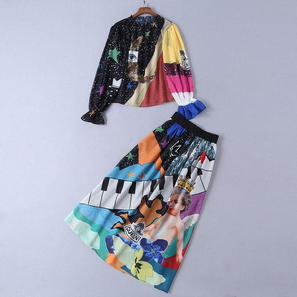 607 2019 Runway Dress Plus Size Marca Same Style Due pezzi Set Impero manica lunga Flora Stampa girocollo poliestere SH