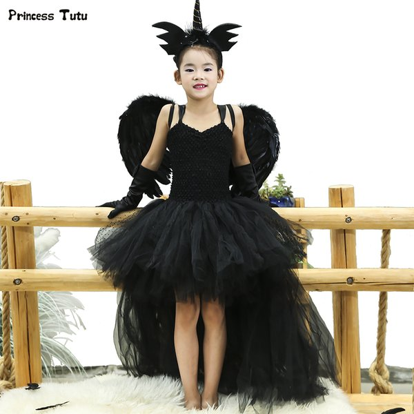 Black Angel Tutu Dress Before Short After Long Tulle Girl Dress Tail Kids Pageant Evening Party Dress Girls Halloween Costume Q190522
