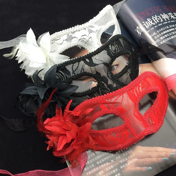 Sexy Women Party Feather Mask Handmade Venice Lace Translucent Lily Mask Classic Women Halloween Costume Accessories