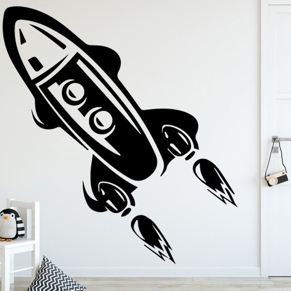 Rocket Height Vinyl Wall Sticker for Kids Livingroom Growth Chart Height Measure for Children Removable PVC Wall Decals Poster