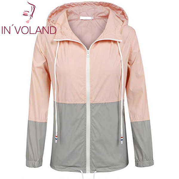 Women Casual Hooded Neck Long Sleeve Patchwork Zipper Rainproof Windbreaker Casual Outdoor All Season Closure Drawstring