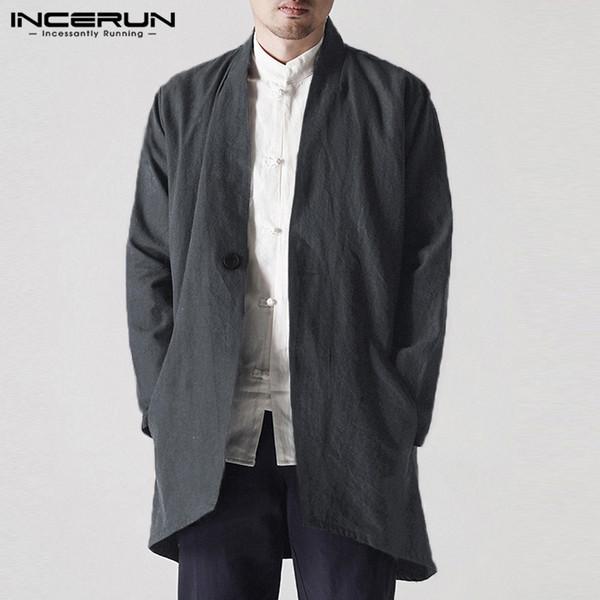 Manteau Noir Trench De Manteaux Automne Outfit 2019 Vintage Acheter Printemps Vent Cardigan Coupe Homme Vêtements Hombre Hommes Vestes Incerun MLqVpGUzS