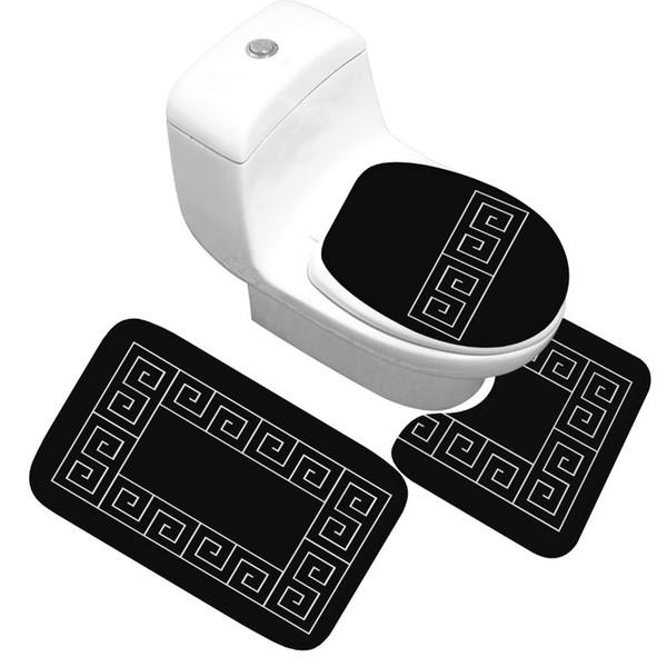 Tapete de banho Conjunto de 3 Peças Padrão Clássico Tampa Do Toalete Almofada Do Pé Não-deslizamento Absorvente Tapete De Porta Do Banheiro Flanela Macia Bathr Tapete Tapete