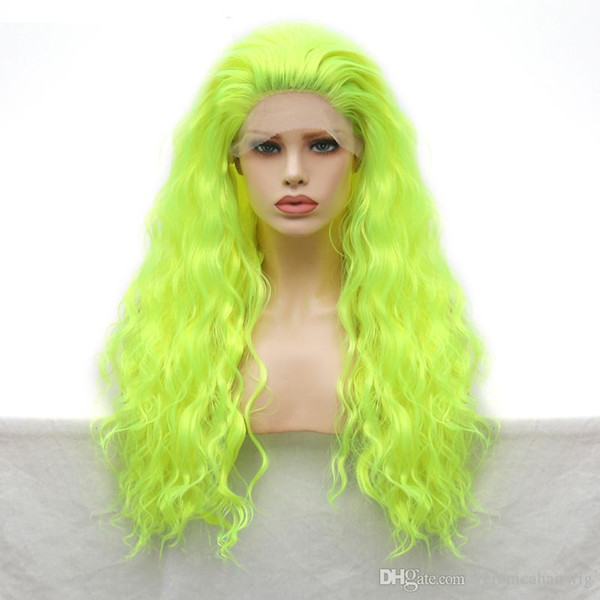 Fashion Green Wigs Natural Hairline Long Curly Wig Heat Resistant Hair Glueless Synthetic Lace Front Wig for Women