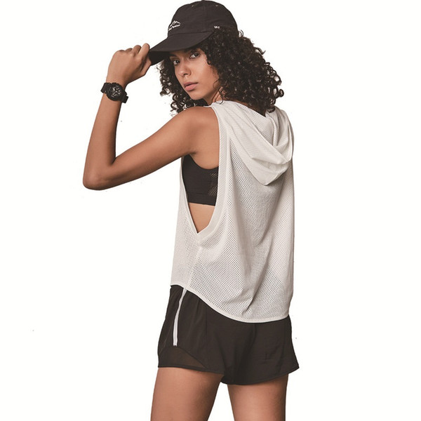 Women Sport T Shirt Breathable Loose Yoga Top Sexy Mesh Fitness Clothes Gym Top Quick Dry Sport Blouses Female Jersey Sleeveless