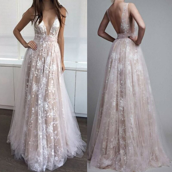 Sexy Boho Deep V-neck Evening Dresses Illusion Lace Open Back Floor Length Party Gowns Beach Prom Dresses