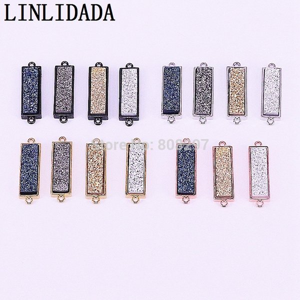 20Pcs Mix Color Rectangle Titanium Crystal Drusy Stone Connector Pendant Beads Jewelry Accessories