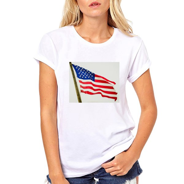 Plus Size Summer 2019 T Shirt Women American Flag Printed Fashion Design Short Sleeve tshirt women tee shirt femme