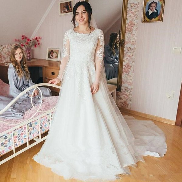 2019 Modest Long Sleeves A Line Wedding Dresses Vintage sheer Tulle lace appliques court train Bridal Gown with veil Plus Size Custom Made