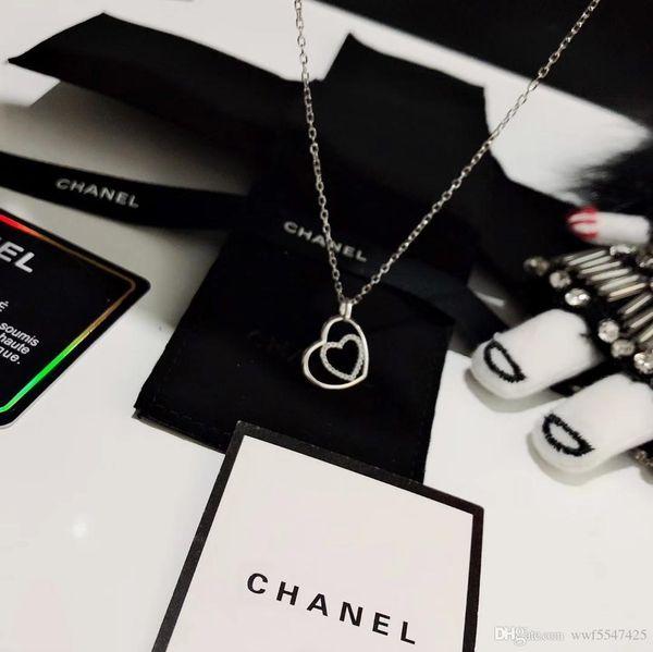collier pour femme bijoux de luxe dame amour coeur en forme de coeur empêche les allergies 925 pendentifs en argent chaîne en or pendentif dames femme