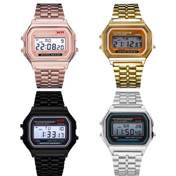 best selling F-91W LED Electronic Watch Sports Stainless Steel Belt Thin Alarm Clock Watches f 91w Men Women Students Date Digital Watch Wrist 2019A21604